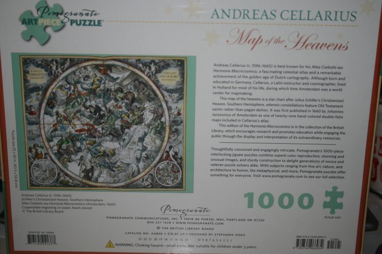 Image of the puzzle 1000, Pomegranate, Map of the Heavens, by Andreas Cellarius, Factory Sealed, Picture of the back
