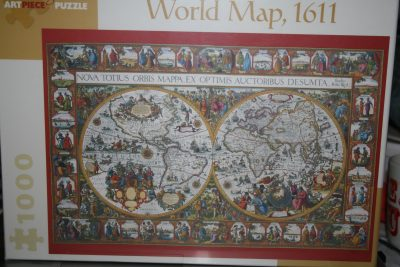 Image of the puzzle 1000, Pomegranate, World Map 1611, by Pieter van den Keere, Factory Sealed, Picture of the box