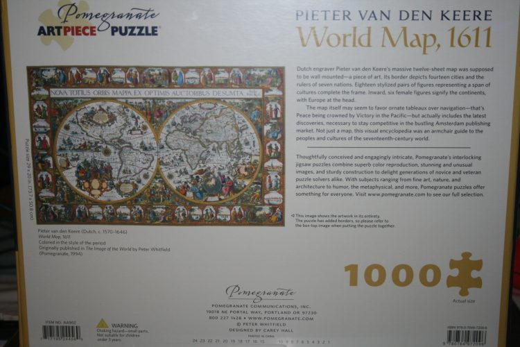 Image of the puzzle Image of the puzzle 1000, Pomegranate, World Map 1611, by Pieter van den Keere, Factory Sealed, Picture of the back