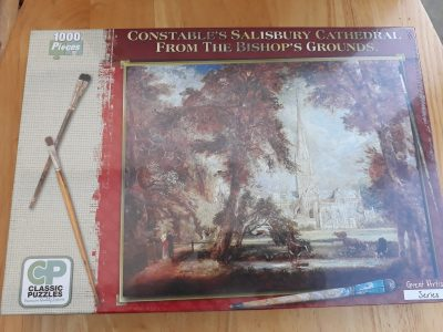 Image of the puzzle 1000, Classic Puzzles, Salisbury Cathedral From the Bishops Ground, by John Constable, Picture of the box