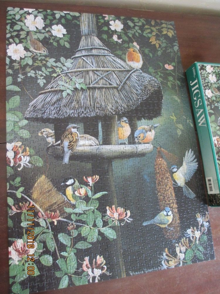 Image of the puzzle 1000, Otter House, The Bird Table, by Pollyanna Pickering, Complete, Picture of the puzzle assembled
