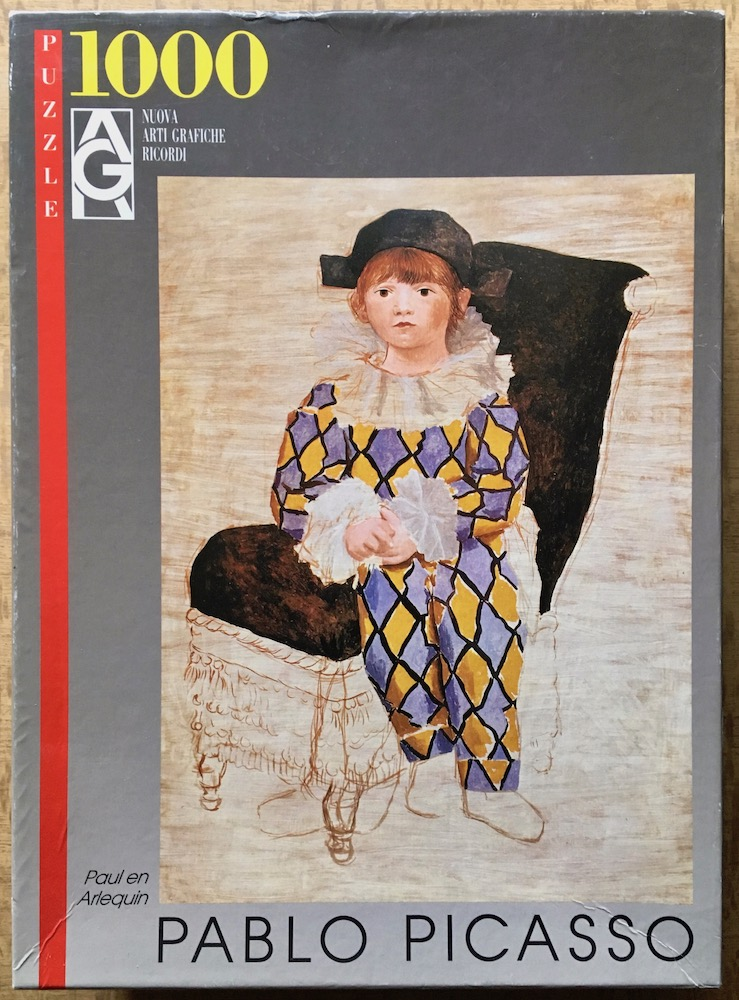 Image of the puzzle 1000, Ricordi, Paul as Harlequin, by Pablo Picasso, Complete, Picture of the box
