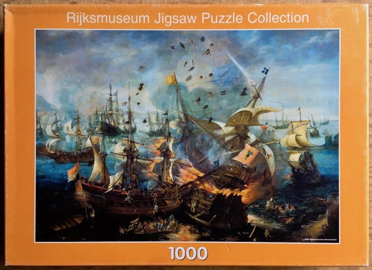 Image of the puzzle 1000, Puzzelman, Battle of Gibraltar, by Cornelis Claesz Van Wieringen, Picture of the box