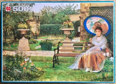 Image of the puzzle 500, Jumbo, Garden Enjoyment, by G.J. Atkinson, Picture of the box