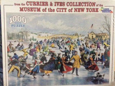 Image of the puzzle 1000, White Mountain, Central Park, Winter/The Skating Pond, by Charles R. Parsons, Factory Sealed