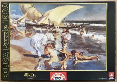 Image of the puzzle 1500, Educa, Beach of Valencia by Morning Light, by Joaquín Sorolla, Sealed Bag, Picture of the box