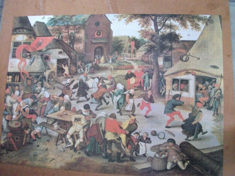 Image of the puzzle 4000, Waddingtons, Feast Day, by Pieter Bruegel the Elder, Picture of the puzzle assembled