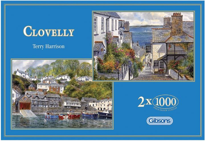 Image of the puzzle 2x1000, Gibsons, Clovelly, by Terry Harrison, Sealed Bags, Picture of the box