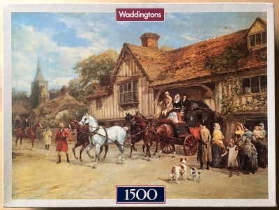 Image of the puzzle 1500, Waddingtons, The Departure of the Mail, by Heywood Hardy, Complete, Picture of the box