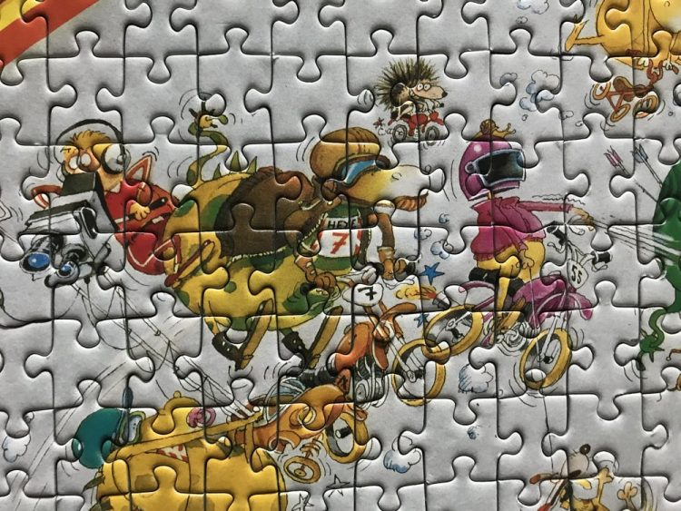 Image of the puzzle 1500, Heye, Dragons Motocross, Marino Degano, Complete, Detail of the puzzle assembled
