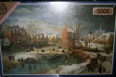 Image of the puzzle 5000, Falcon, Village in Winter, by Frans de Momper, Factory Sealed, Picture of the box