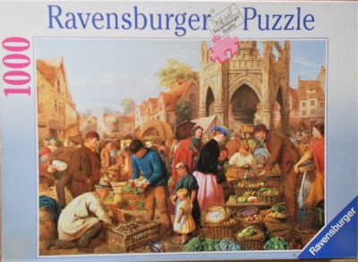 Image of the puzzle 1000, Ravensburger, Malmesbury Market,by Henry Charles Bryant, Complete, Picture of the box