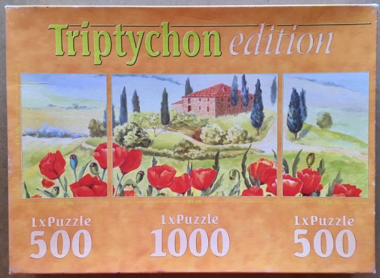 Image of the puzzle 2x500, 1000, Spiel Spass, 2x500, 1000, Spiel Spass, Lawn with Poppies, Picture of the box