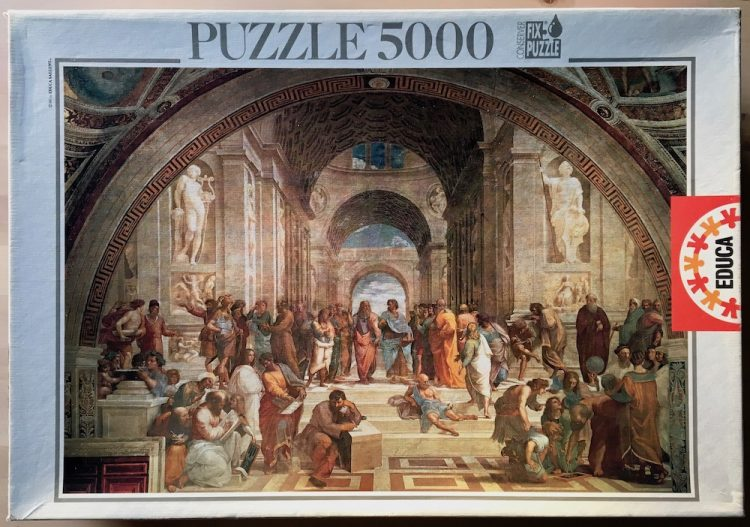 Image of the puzzle 5000, Educa, The School of Athens, by Raphael, Picture of the box