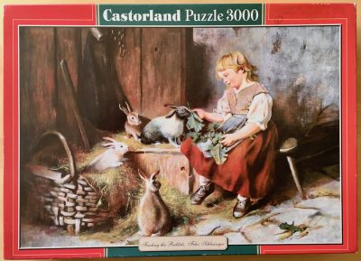 Image of the puzzle 3000, Castorland, Feeding the Rabbits, by Felix Schlesinger, Picture of the box