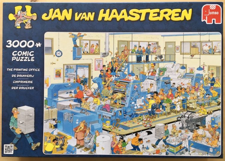 Image of the puzzle 3000, Jumbo, The Printing Office, by Jan van Haasteren, Picture of the box