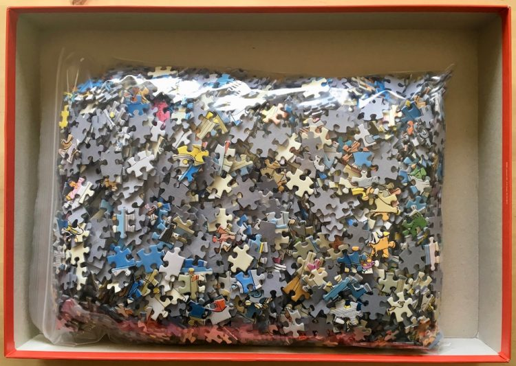 Image of the puzzle 3000, Jumbo, The Printing Office, by Jan van Haasteren, Picture of the bag