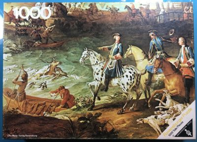 Image of the puzzle 1000, Ravensburger, Stag Hunt, Hirschjagd, by Jean-Baptiste Oudry, Complete, Picture of the box
