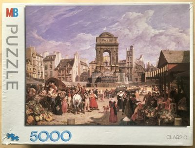 Image of the puzzle 5000, MB, The Market and Fountain of the Innocents, Paris, by John James Chalon, Sealed Bag, Picture of the box