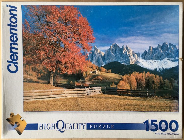 Image of the puzzle 1500, Clementoni, Valley of Funes, Italy, Picture of the box