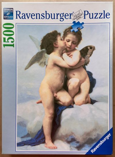 Image of the puzzle 1000, Ravensburger, Cupid and Psyche as Children, by William-Adolphe Bouguereau, Factory Sealed, Picture of the box
