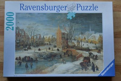 Image of the puzzle 2000, Ravensburger, Village in Winter, Joos de Momper, Complete, Picture of the box