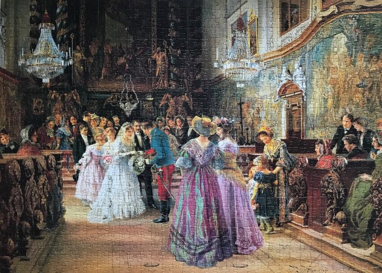 Image of the puzzle 2x1000, Falcon, The Christening & The Wedding, by Johann Hamza, Complete, Picture of the puzzle assembled