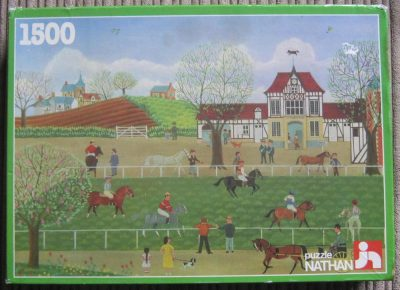 Image of the puzzle 1500, Nathan, The Riders' Spring, by Cellia Saubry, Complete, Picture of the box
