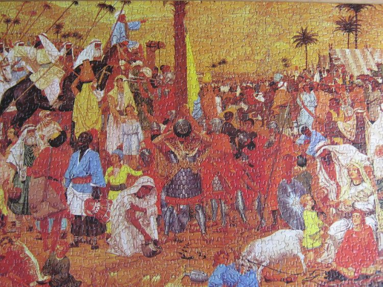 Image of the puzzle 1000, Falcon, The Flight out of Egypt, by Richard Dadd, Complete, Picture of the puzzle assembled