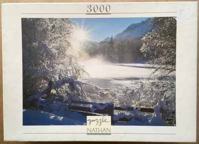 Image of the puzzle 3000, Nathan, Sun on Snow, Sealed Bag, Picture of the box