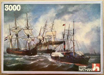 Image of the puzzle 3000, Nathan, Ships Entering Le Havre, Édouard Adam, Factory Sealed, Picture of the box