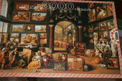 Image of the puzzle 8000, Educa, Alexander the Great visiting the Studio of Apelles, by Willem van Haecht, Sealed Bag, Picture of the corner