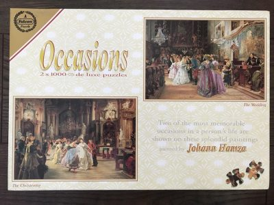 Image of the puzzle 2x1000, Falcon, The Christening & The Wedding, by Johann Hamza, Complete, Picture of the box