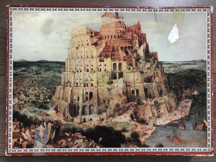 Image of the puzzle 2000, Berliner Bären, The Tower of Babel, by Pieter Bruegel the Elder, Picture of the box