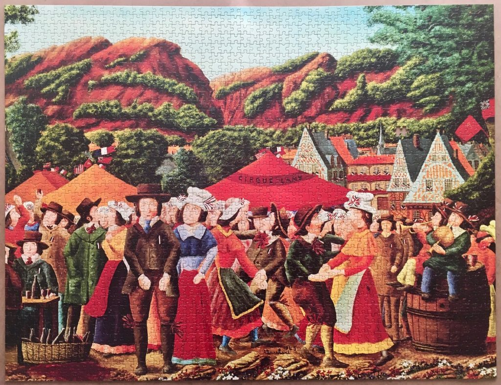 Image of the puzzle 2000, Ravensburger, Liberation Celebration, by André Bauchant, Picture of the puzzle assembled