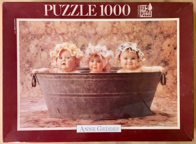 Image of the puzze 1000, Educa, Washtub Trio, by Anne Geddes, Complete, Picture of the box