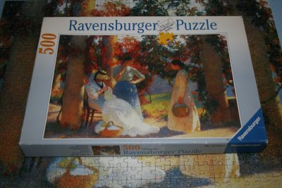 Image of the puzzle 500 Ravensburger, Under the Pergola at Marquayrol, by Henri Martin, Picture of the box