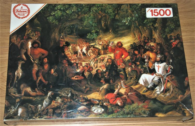 Image of the puzzle 1500, Falcon, Robin Hood and His Merry Men Entertaining Richard the Lionheart in Sherwood Forest, Daniel Maclise, Factory Sealed
