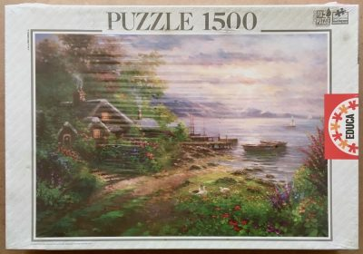 Image of the puzzle 1500, Educa, Lakeside Cottage, by Ghambaro, Factory Sealed