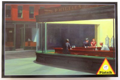 Image of the puzzle 1000, Piatnik, Nighthawks, by Edward Hopper, Complete, Picture of the box