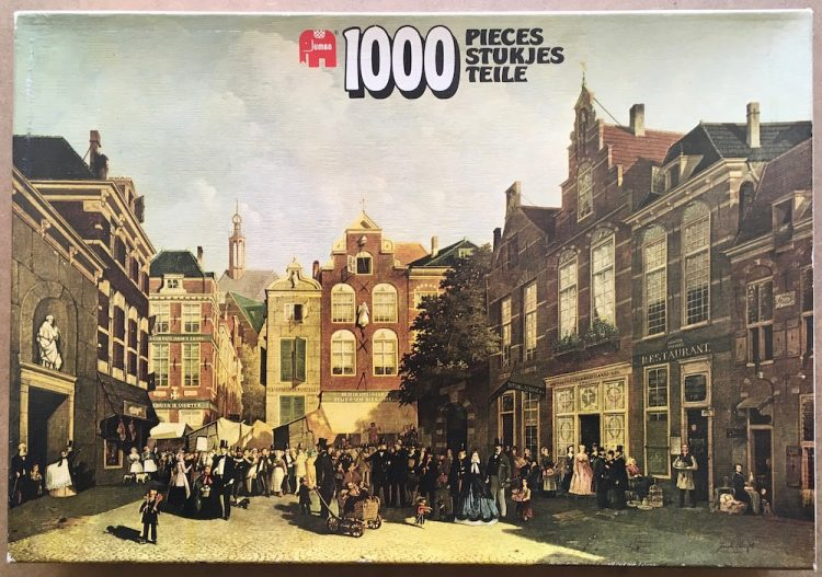 Image of the puzzle 1000, Jumbo, The Daily Market on the Groenmarkt with the St. Jacobskerk in the back, Picture of the box