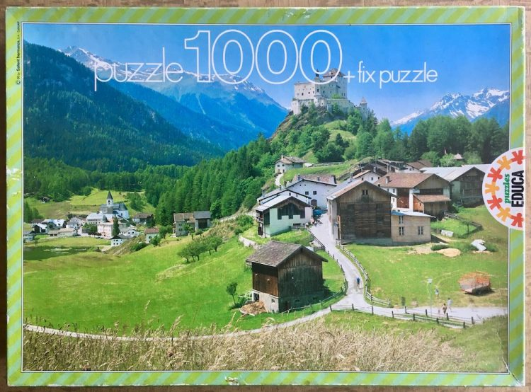 Image of the puzzle 1000, Educa, Tarasp Castle, Switzerland, Complete, Picture of the box
