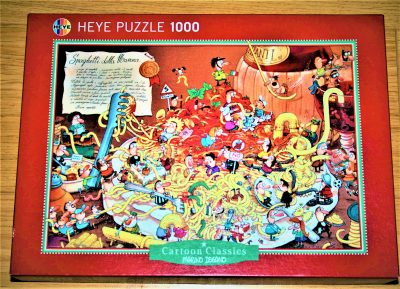Image of the puzzle 1000, Heye, Spaghetti, by Marino Degano, Complete, Picture of the box