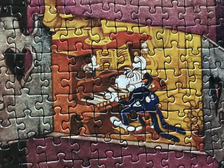 Image of the puzzle 1000, Heye, Piano, by Guillermo Mordillo, Complete, Detail of the puzzle assembled