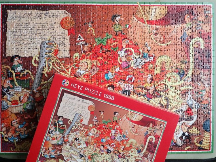 Image of the puzzle 1000, Heye, Spaghetti, by Marino Degano, Complete, Picture of the puzzle assembled
