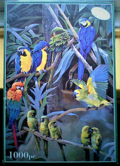 Image of the puzzle 1000, Otter House, Parrots of the World, by Pollyana Pickering, Factory Sealed