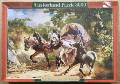 Image of the puzzle 3000, Castorland, Covered Wagon in a Narrow Path, by Rudolf Koller, Factory Sealed