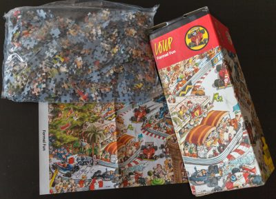 Image of the puzzle 1000, Heye, Formel Fun, by Jean-Jacques Loup, Sealed Bag, Picture of the contents
