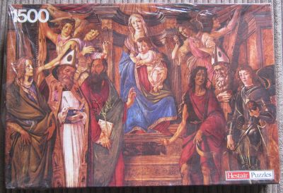 Image of the puzzle 1500, Hestair, Madonna and Saints, by Sandro Botticelli, Factory Sealed, Picture of the box
