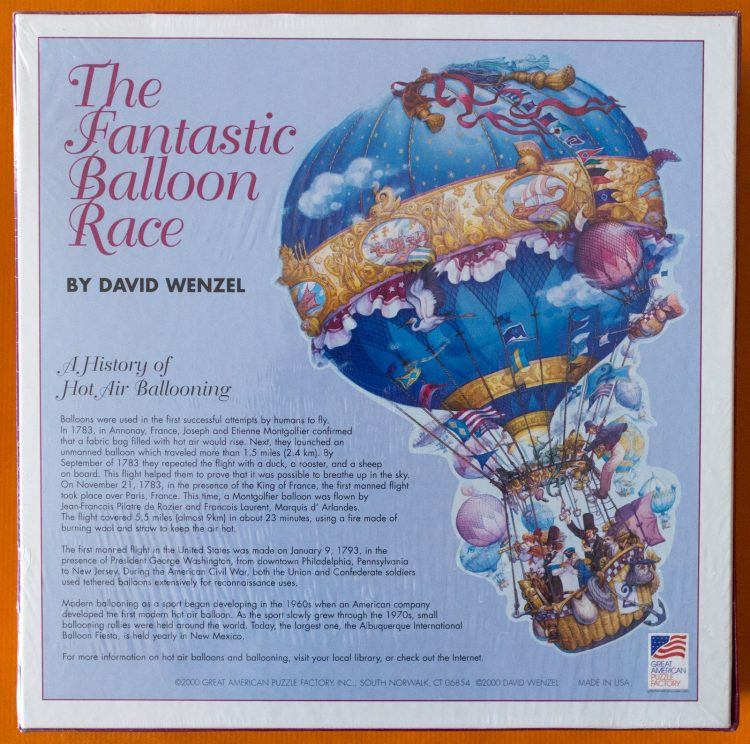 Image of the puzzle 1000, Great American Puzzle Factory, The Fantastic Balloon Race, by David Wenzel, Picture of the back